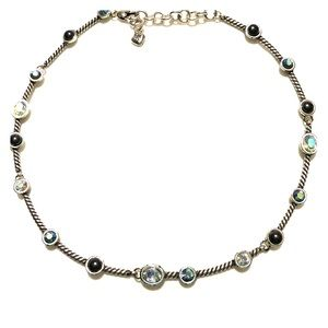 Brighton silver necklace with crystals and stones.